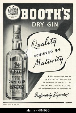 1939 UK Magazine Booth's Dry Gin Advert - Stock Image