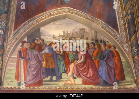Renunciation of Worldly Goods, Frescoes on the Life of St Francis, by Domenico Ghirlandaio, 1483-85, Capella Sassetti, Sassetti Chapel, Chiesa di Sant - Stock Image