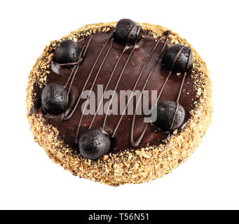 Tasty homemade chocolate cake on white background, top view, clipping path - Stock Image