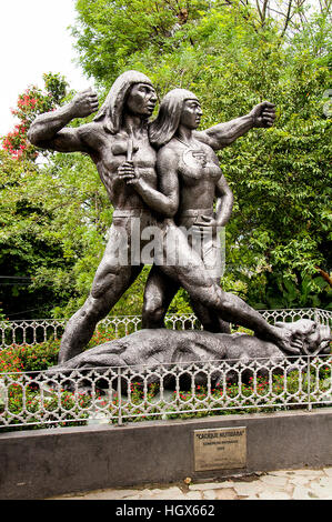 A statue for represent colombian native peoples in park  of  Pueblito Paisa. - Stock Image
