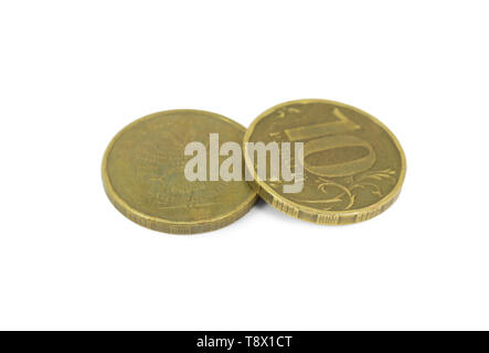 Two Russian coins of ten rubles isolated on white - Stock Image