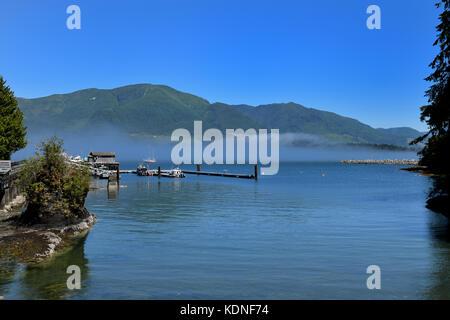 Mist hangs over Port Renfrew's harbor on Vancouver Island, BC, Canada - Stock Image