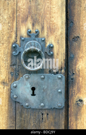 Lock in the churchdoor of Lom Stave Church, Lom, Oppland, Norway - Stock Image