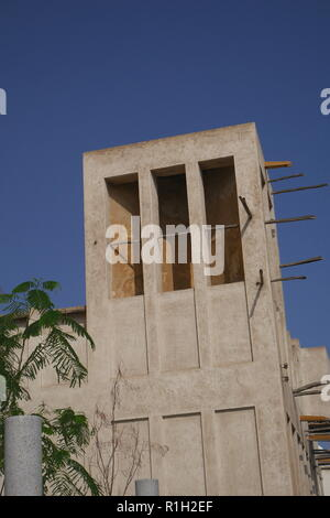 Wind tower of the Al Alawi House, located on the Pearl Trail, Muharraq, Kingdom of Bahrain - Stock Image