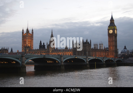 Houses of Parliament at Dusk London - Stock Image