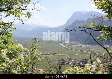 Mezzocorona, view to Paganella from the hiking path to Monte. - Stock Image