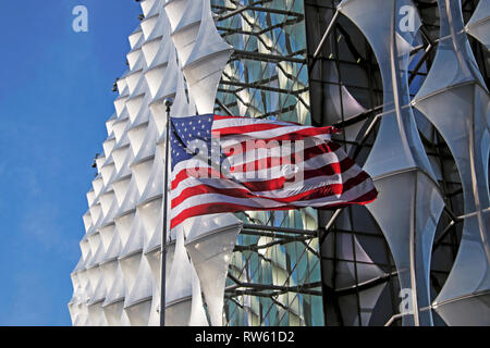 The new US Embassy building with the stars and stripes flag flying in Nine Elms Lane, Wandsworth,  West London SW11 England UK  KATHY DEWITT - Stock Image