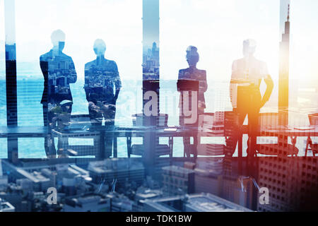 Group of business partner looking for the future. Concept of corporate and startup - Stock Image