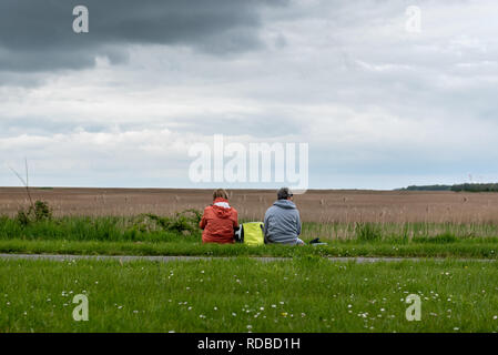 two women with picnic in the countryside - Stock Image