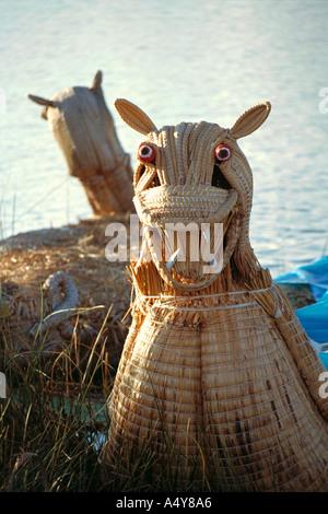 Uros Indian Reed Boat, Lake Titicaca, Peru - Stock Image