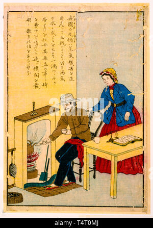 James Watt (1736-1819), inventor of the steam engine, Japanese Woodcut print, c. 1850-1900 - Stock Image