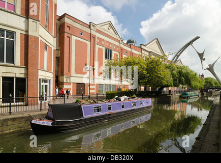 Narrow Boat on River Witham Lincoln - Stock Image