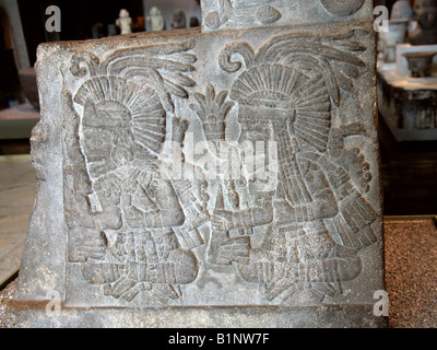 Carving Depicting Aztec Gods, National Museum of Anthropology, Chapultepec Park, Mexico City, Mexico - Stock Image