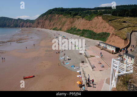 Sidmouht beach looking west, towards Peak Hill, also known as High Peak, East Devon, UK - Stock Image