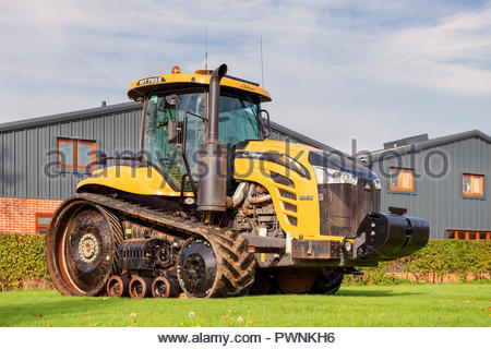 CAT Caterpillar crawler tracked tractor. Large agricultural vehicle with rubber tracks. Challenger tractor. - Stock Image
