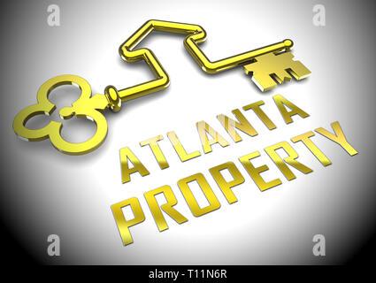 Atlanta Real Estate Key Shows Property Investment In Georgia. United States Housing Market 3d Illustration - Stock Image