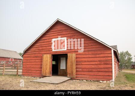Saddle Horse Barn at the Bar U Ranch, National Historic Site of Canada, Parks Canada, Longview, Alberta, Canada - Stock Image