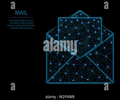 Mail low poly model, letter in polygonal style, postal envelope wireframe vector illustration made from points and lines on a black background - Stock Image