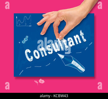 A hand picking up a Consultant concept on a colorful drawing board. - Stock Image