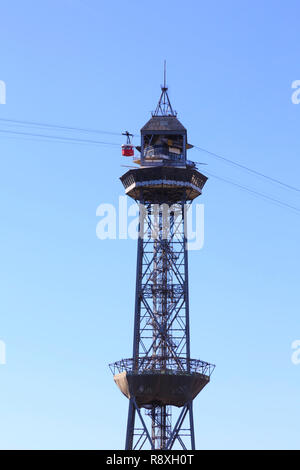 Cable car tower, Port Vell marina, Barcelona, Catalunya Spain - Stock Image
