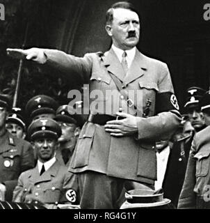 Adolf Hitler in his infamous salute pose. Scanned from image material in the archives of Press Portrait Service - (formerly Press Portrait Bureau). - Stock Image