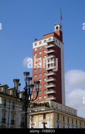 Modern tower block in the centre of Turin, Piedmont, Italy - Stock Image