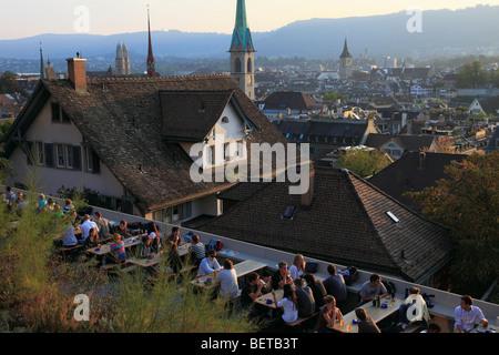 Switzerland, Zurich, skyline, cafe, people, general view - Stock Image