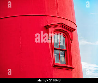 Close up view of Nauset Light House window, a landmark red and white lighthouse at Nauset Light Beach Eastham MA - Stock Image