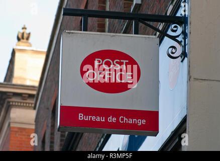Post Office and Bureau De Change Sign - Stock Image