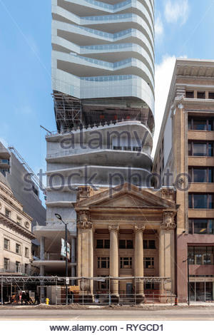 Old historic Canadian Bank of Commerce Building being restored into new Massey Tower on Yonge Street in Toronto Ontario Canada - Stock Image