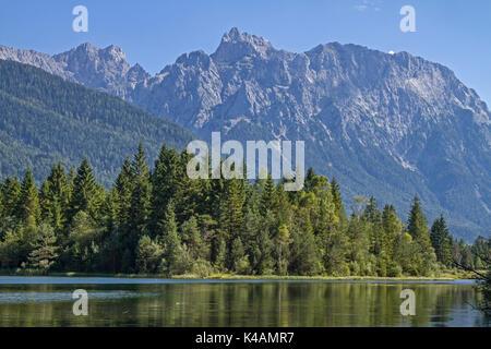 Isar Reservoir With Karwendel Mountains Near Mittenwald - Stock Image