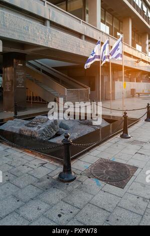 Israel, Tel Aviv - 15 September 2018: Monument marking the site of the assassination of Yitzhak Rabin - Stock Image