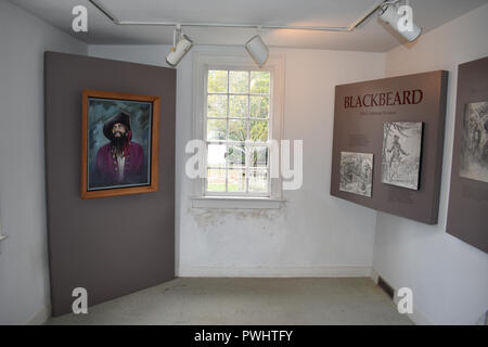 A display in the Van Der Veer House Museum about Edward Teach known at Blackbeard the Pirate. - Stock Image