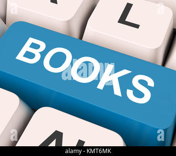 Books Key On Keyboard Meaning Novel Journal Or Magazine - Stock Image