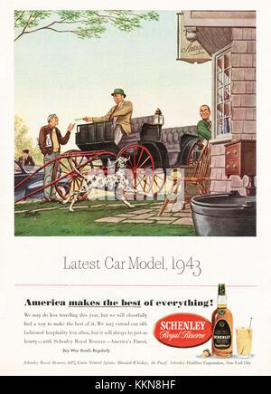 1943 U.S. Magazine Schenley Whiskey Advert - Stock Image