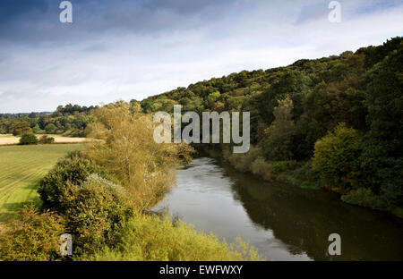 UK, England, Shropshire, Bridgnorth, View of River Severn from Severn Valley Railway train crossing Victoria Bridge - Stock Image