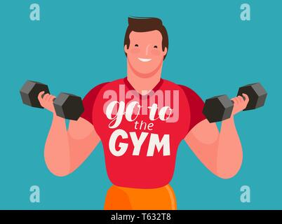 Man with dumbbells in his hands. Gym, cartoon vector illustration - Stock Image