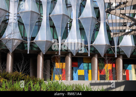 New US Embassy London new building exterior facade and artwork in Nine Elms Lane, Wandsworth West London England UK  KATHY DEWITT - Stock Image