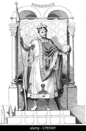 Henry II, 973 - 1024, historical illustration, 19th century, Heinrich II., (973 - 1024) aus dem Adelsgeschlecht - Stock Image
