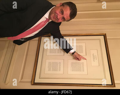German Foreign Minister Sigmar Gabriel stands in front of the Marshall Plan -- Secretary of State George C. Marshall's - Stock Image