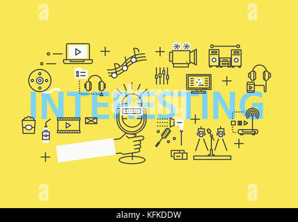 Infographic illustration with English letters for INTERESTING - Stock Image