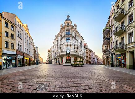 Main pedestrian street in old town of Torun, Poland - Stock Image