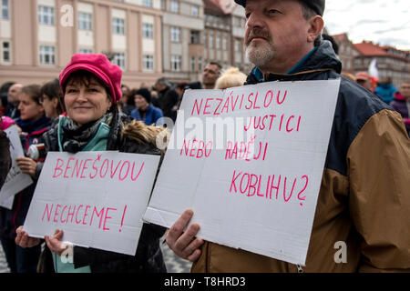 Hradec Kralove, Czech Republic. 13th May, 2019. People attend demonstration against PM Babis and new Justice Minister Benesova in the centre of Hradec Kralove, Czech Republic, May 13, 2019. Credit: David Tanecek/CTK Photo/Alamy Live News - Stock Image