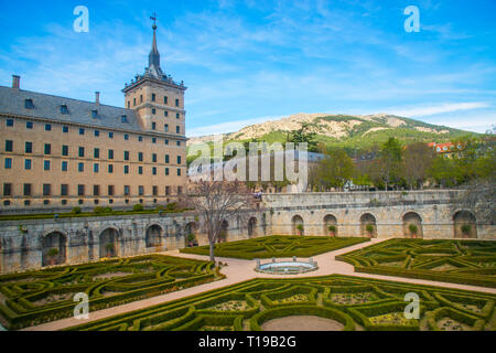 Gardens and Royal Monastery. San Lorenzo del Escorial, Madrid province, Spain. - Stock Image