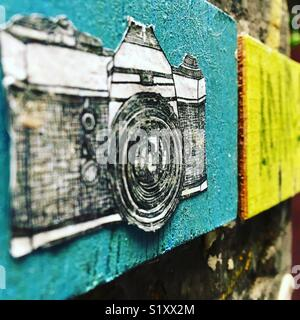 Artwork of illustrated camera - Stock Image