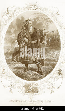 Engraving of the Shakespearean character King Lear, acted by an American, Edwin Forrest. From the Illustrated Complete - Stock Image