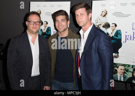 Sam Slater, David Bernon, Paul Bernon at arrivals for IFC Film's A KID LIKE JAKE Premiere, The Landmark at 57 West, New York, NY May 21, 2018. Photo By: Jason Smith/Everett Collection - Stock Image