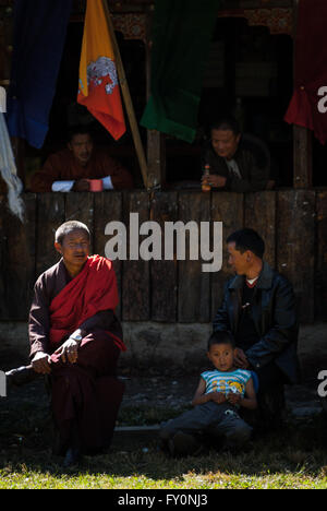 Spectators at an archery match in Paro, Bhutan - Stock Image