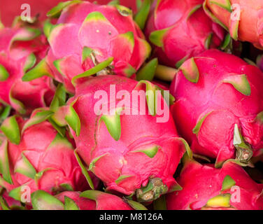 Dragon fruits at the market stall in Chiang Mai, Thailand. - Stock Image