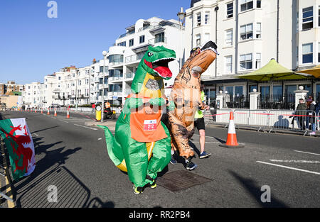Brighton, UK. 24th Feb, 2019. Dinosaurs taking part in the Grand Brighton Half Marathon on a beautiful sunny morning . Over 13000 runners were expected to take part in aid of the Sussex Beacon charity Credit: Simon Dack/Alamy Live News - Stock Image